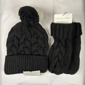 Love & Lore Bundle- Black Pom Hat & Mittens